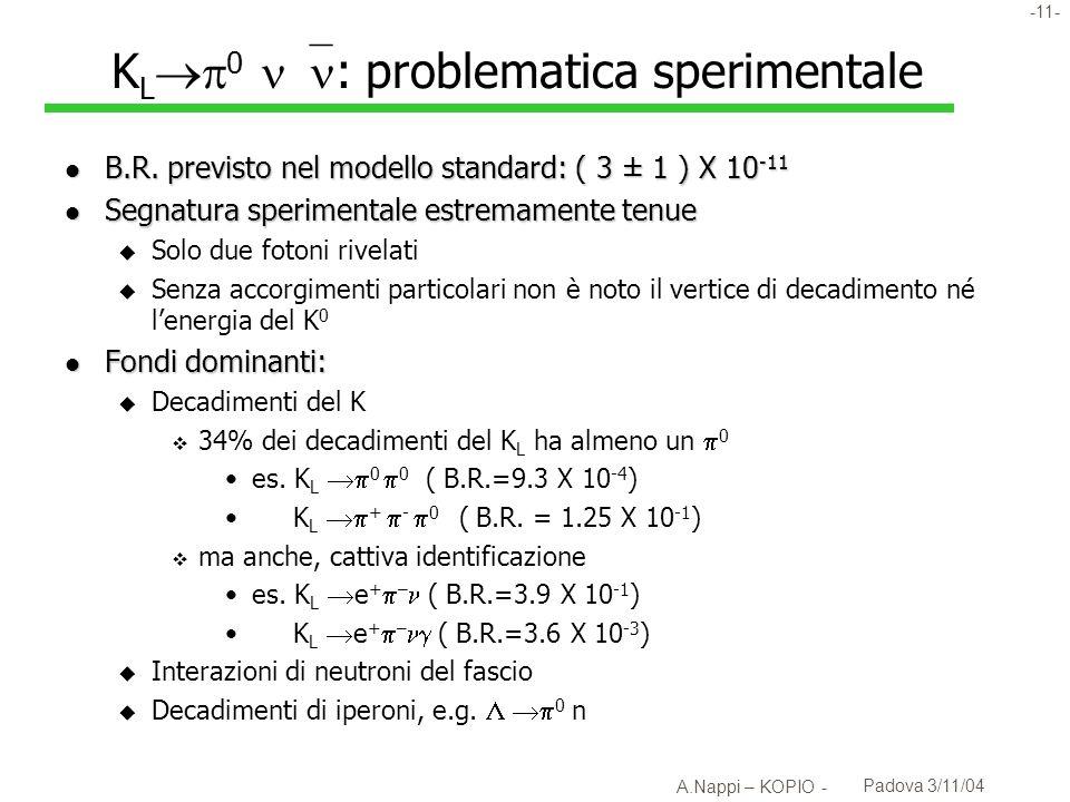 -12- A.Nappi – KOPIO - Padova 3/11/04 K L 0 in a nutshell