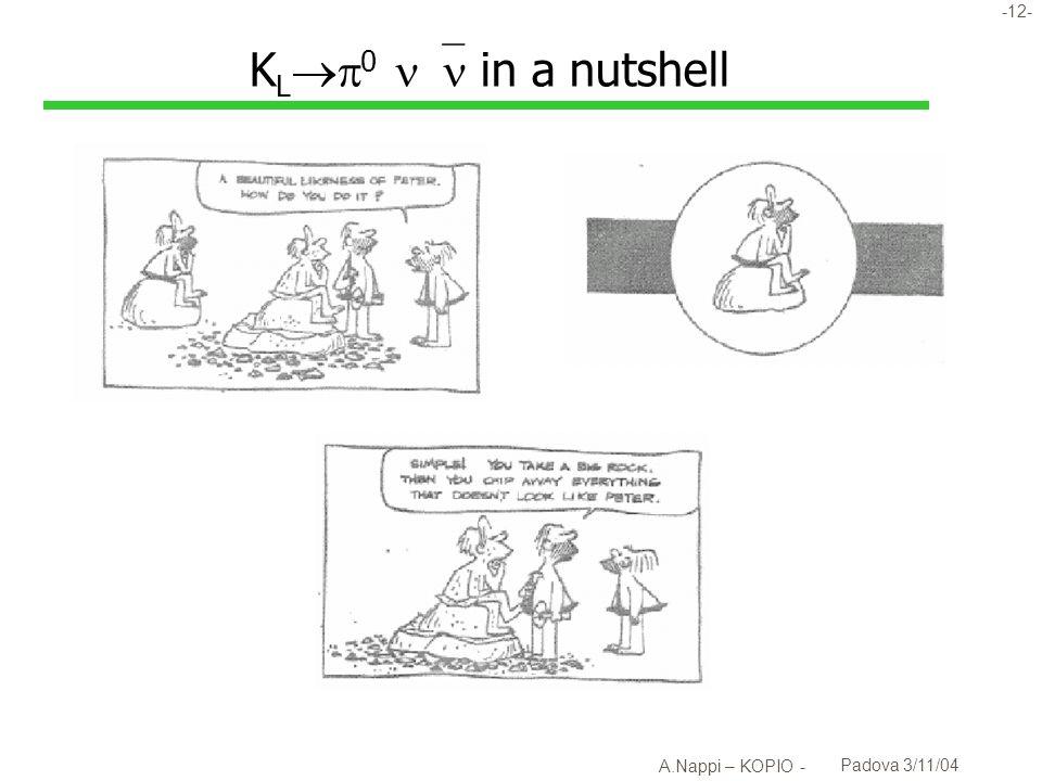 -13- A.Nappi – KOPIO - Padova 3/11/04 K L 0 : i requisiti sperimentali l 2 fotoni e niente altro u sistema di veto ermetico l I due fotoni vengono dal decadimento del 0 u Richiede conoscenza del vertice...