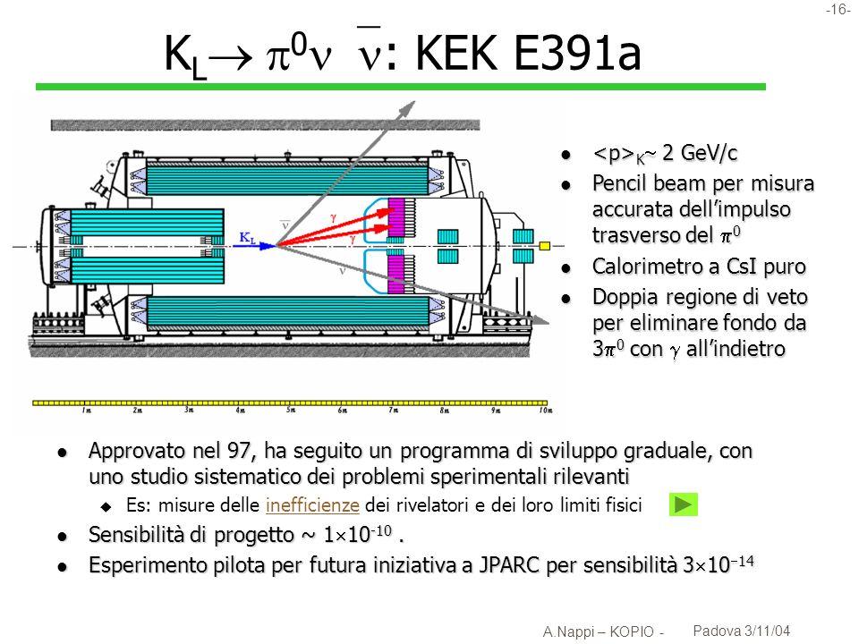 -17- A.Nappi – KOPIO - Padova 3/11/04 E391: misure di inefficienza