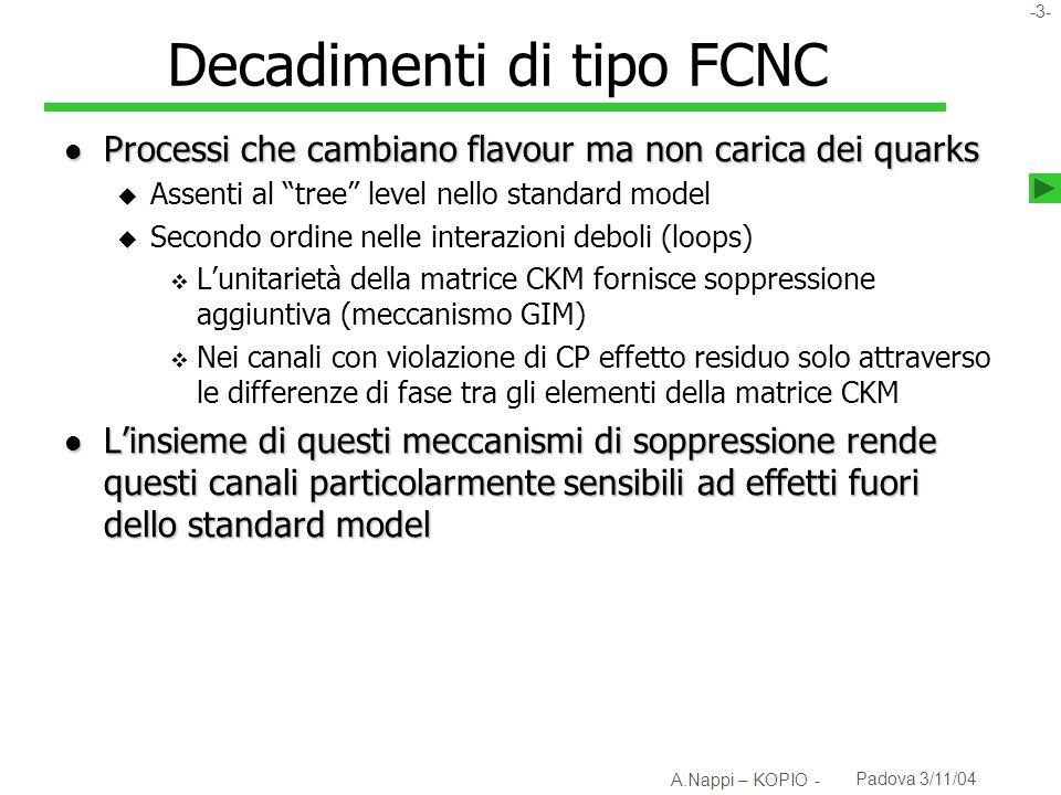 -4- A.Nappi – KOPIO - Padova 3/11/04 K l l K 0 l l Soppressione delle FCNC u u c c t t uc t