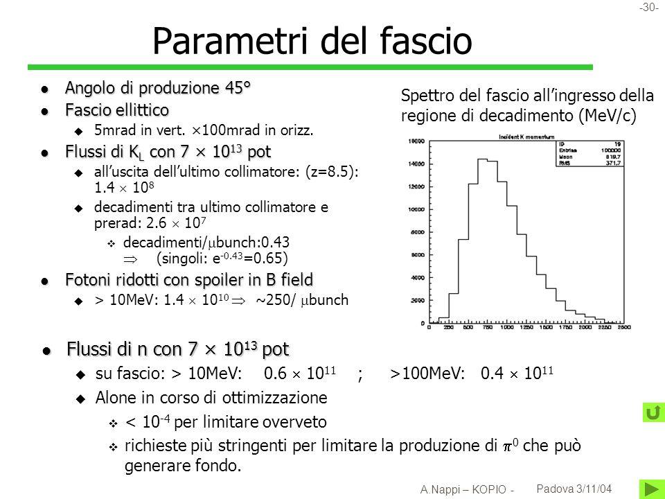 -31- A.Nappi – KOPIO - Padova 3/11/04 Beam halo e S/B vs aspect ratio