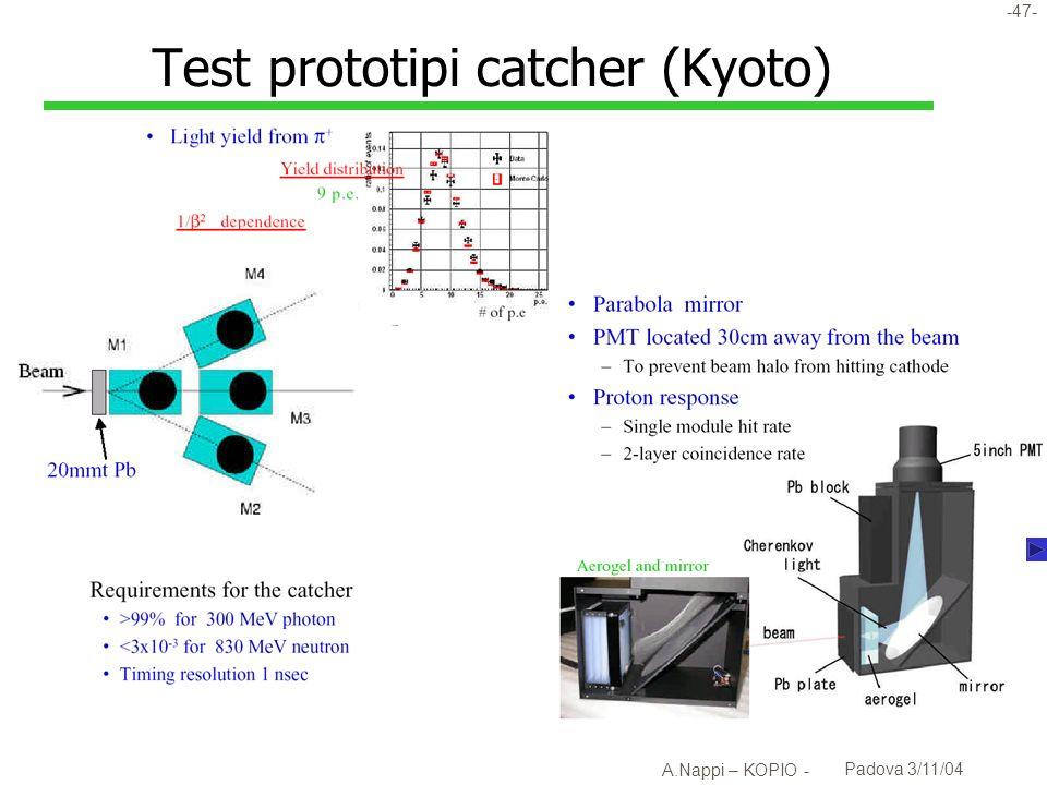 -48- A.Nappi – KOPIO - Padova 3/11/04 Risposta del catcher a protoni