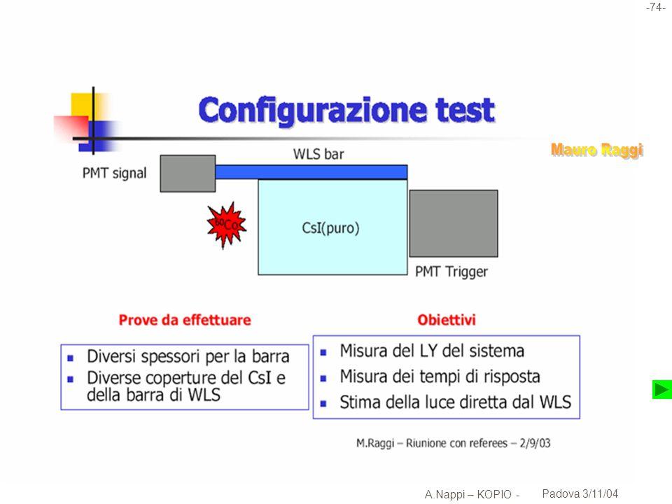 -75- A.Nappi – KOPIO - Padova 3/11/04 Assemblaggio test cristallo