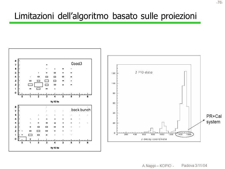 -77- A.Nappi – KOPIO - Padova 3/11/04 Coincidenze x-y con compensazione temporale l Possibile accuratezza < ~ 1ns con implementazione su FPGA .