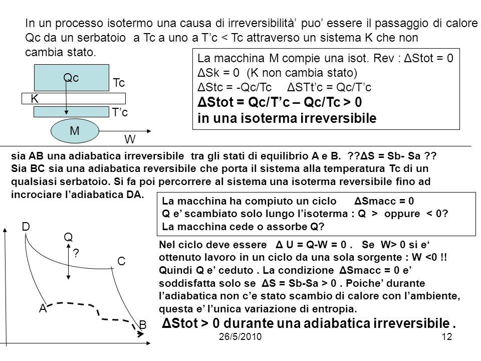 26/5/201012 In un processo isotermo una causa di irreversibilità puo essere il passaggio di calore Qc da un serbatoio a Tc a uno a Tc < Tc attraverso