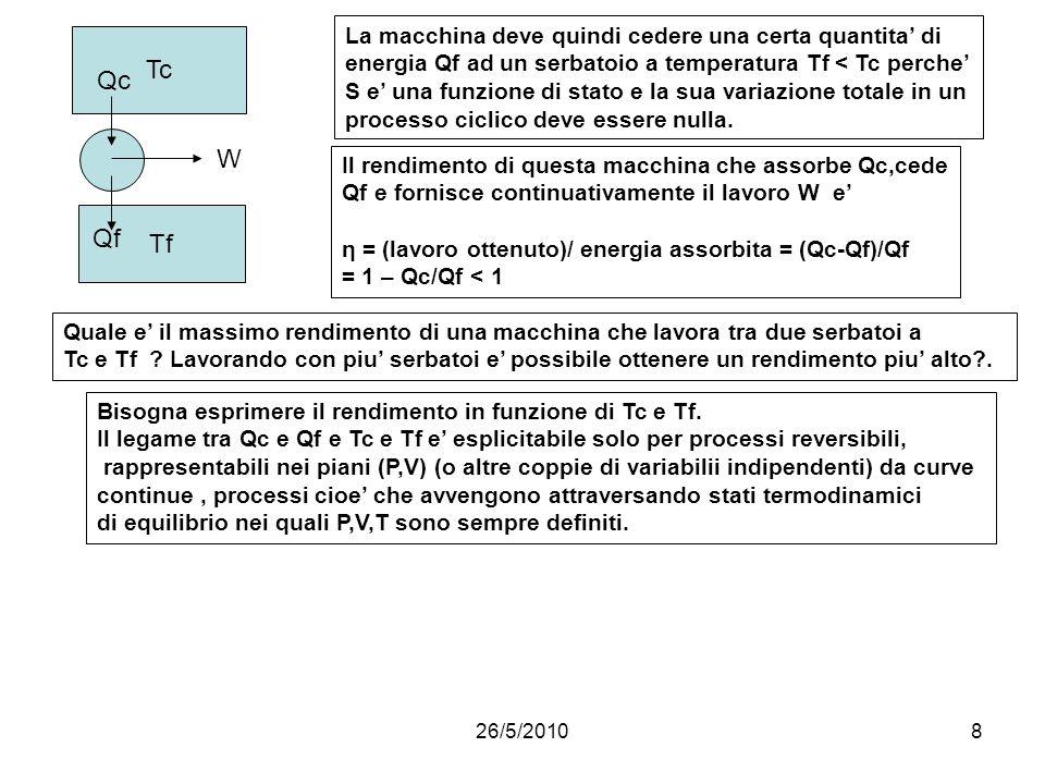 26/5/20108 Il rendimento di questa macchina che assorbe Qc,cede Qf e fornisce continuativamente il lavoro W e η = (lavoro ottenuto)/ energia assorbita