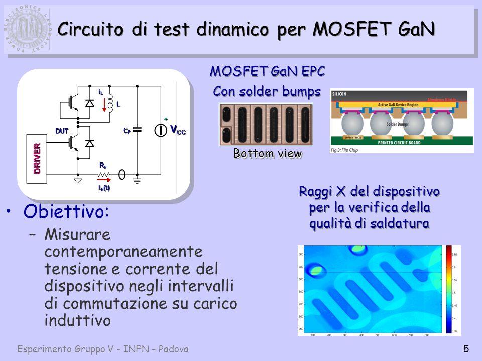 Esperimento Gruppo V - INFN – Padova5 Circuito di test dinamico per MOSFET GaN Obiettivo: –Misurare contemporaneamente tensione e corrente del dispositivo negli intervalli di commutazione su carico induttivo DUT DRIVER V CC RsRsRsRs L CFCFCFCF + I o (t) iLiLiLiL MOSFET GaN EPC Con solder bumps MOSFET GaN EPC Con solder bumps Raggi X del dispositivo per la verifica della qualità di saldatura Bottom view