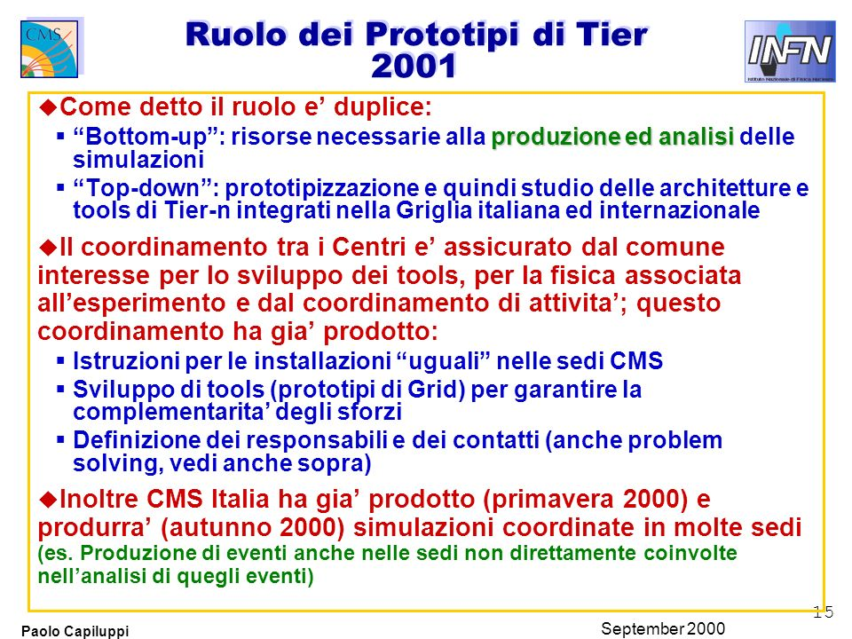 15 Paolo Capiluppi September 2000 Ruolo dei Prototipi di Tier 2001 u Come detto il ruolo e duplice: produzione ed analisi Bottom-up: risorse necessari