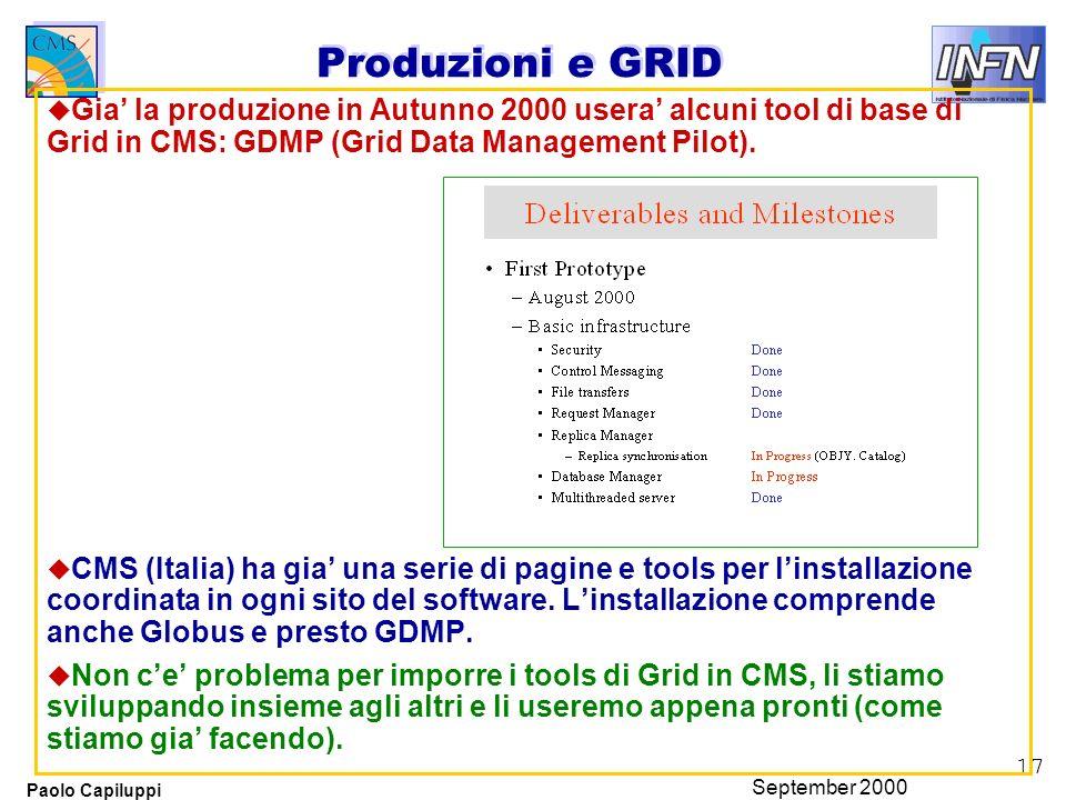 17 Paolo Capiluppi September 2000 Produzioni e GRID u Gia la produzione in Autunno 2000 usera alcuni tool di base di Grid in CMS: GDMP (Grid Data Management Pilot).