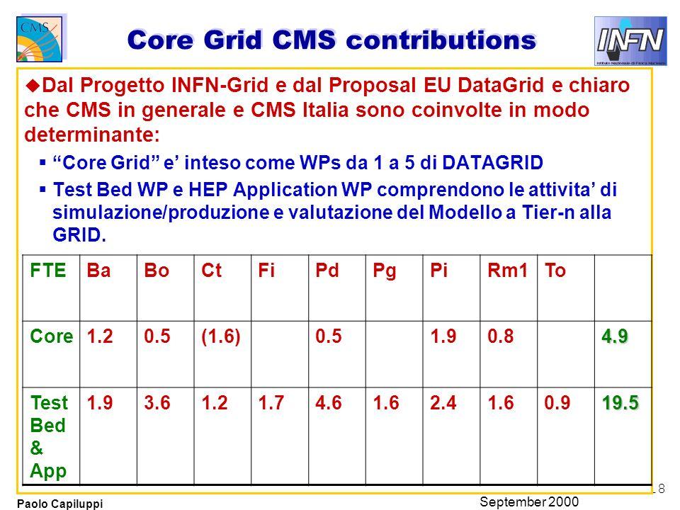 18 Paolo Capiluppi September 2000 Core Grid CMS contributions u Dal Progetto INFN-Grid e dal Proposal EU DataGrid e chiaro che CMS in generale e CMS I