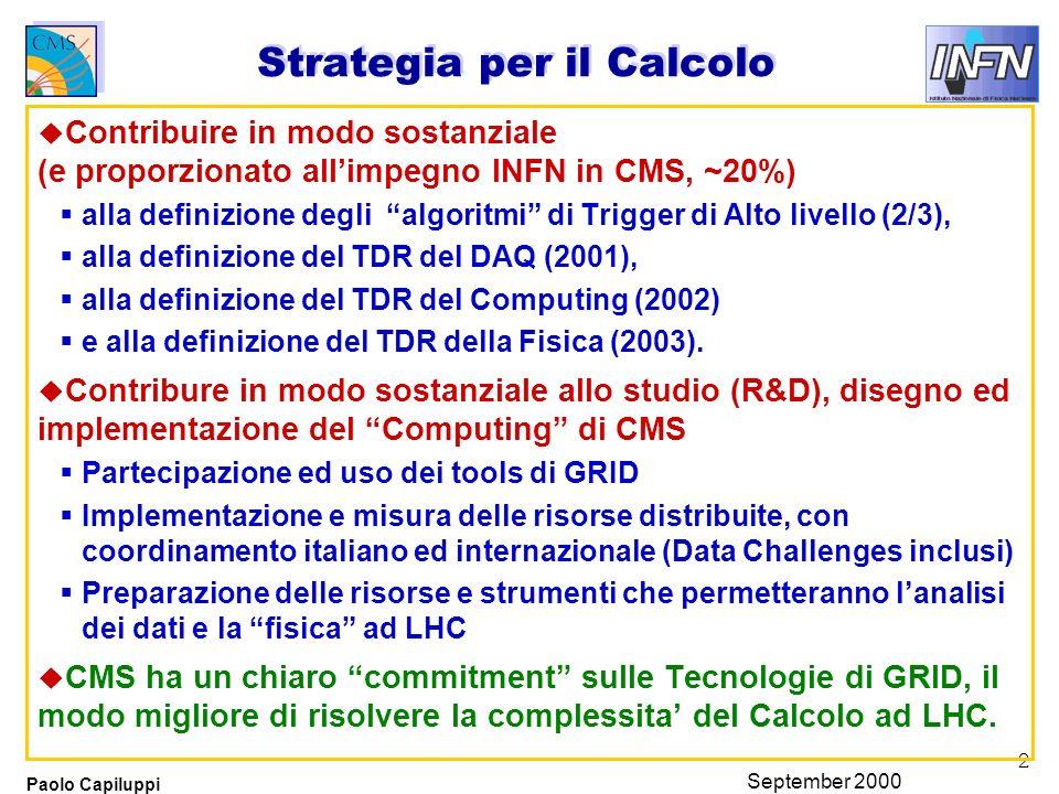 2 Paolo Capiluppi September 2000 Strategia per il Calcolo u Contribuire in modo sostanziale (e proporzionato allimpegno INFN in CMS, ~20%) alla definizione degli algoritmi di Trigger di Alto livello (2/3), alla definizione del TDR del DAQ (2001), alla definizione del TDR del Computing (2002) e alla definizione del TDR della Fisica (2003).