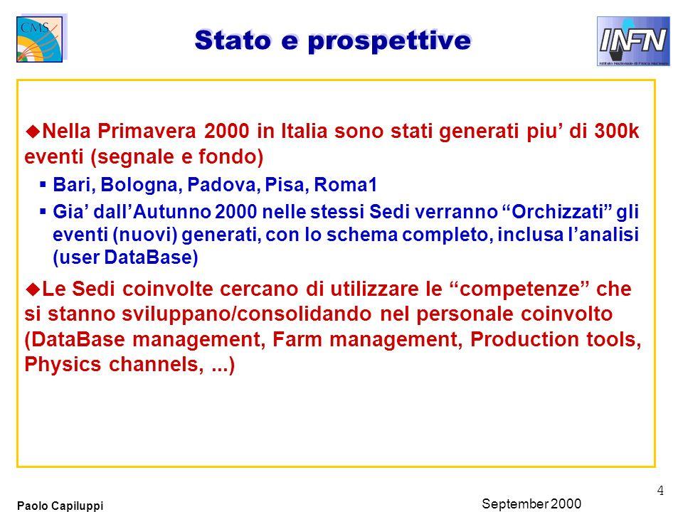 4 Paolo Capiluppi September 2000 Stato e prospettive u Nella Primavera 2000 in Italia sono stati generati piu di 300k eventi (segnale e fondo) Bari, B