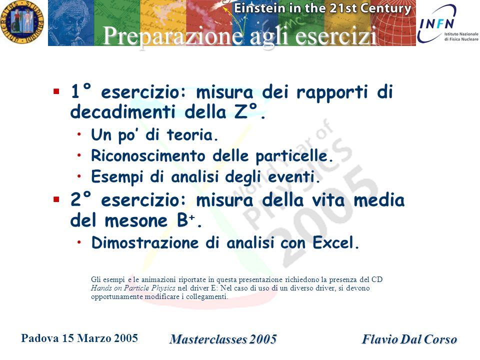 Padova 15 Marzo 2005 Masterclasses 2005Flavio Dal Corso Preparazione agli esercizi 1° esercizio: misura dei rapporti di decadimenti della Z°.