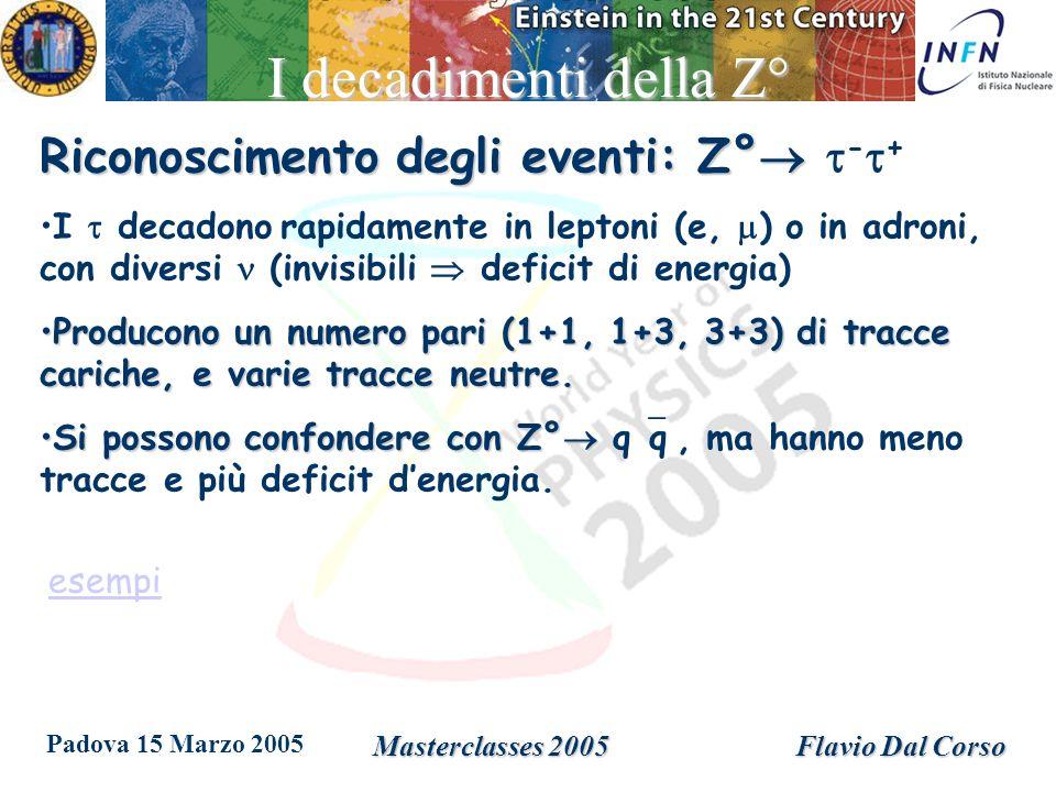 Padova 15 Marzo 2005 Masterclasses 2005Flavio Dal Corso I decadimenti della Z° Riconoscimento degli eventi: Z° Riconoscimento degli eventi: Z° - + I decadono rapidamente in leptoni (e, ) o in adroni, con diversi (invisibili deficit di energia) Producono un numero pari (1+1, 1+3, 3+3) di tracce cariche, e varie tracce neutre.Producono un numero pari (1+1, 1+3, 3+3) di tracce cariche, e varie tracce neutre.
