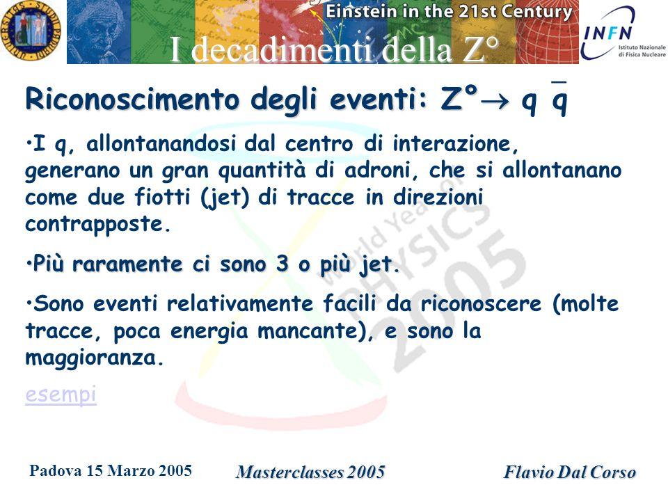 Padova 15 Marzo 2005 Masterclasses 2005Flavio Dal Corso I decadimenti della Z° Riconoscimento degli eventi: Z° Riconoscimento degli eventi: Z° q q I q, allontanandosi dal centro di interazione, generano un gran quantità di adroni, che si allontanano come due fiotti (jet) di tracce in direzioni contrapposte.