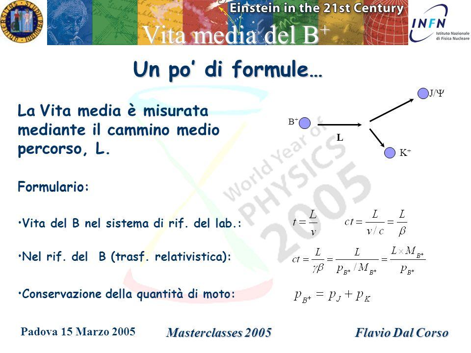 Padova 15 Marzo 2005 Masterclasses 2005Flavio Dal Corso Vita media del B + Un po di formule… B+B+ K+K+ J/ L La Vita media è misurata mediante il cammino medio percorso, L.