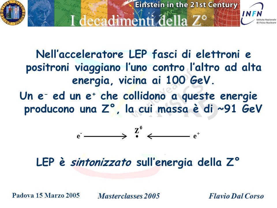 Padova 15 Marzo 2005 Masterclasses 2005Flavio Dal Corso I decadimenti della Z° Dopo un brevissimo istante (10 -25 s) la Z° decade in una coppia di particella/antiparticella che si allontanano in direzioni opposte.