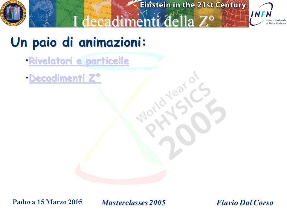 Padova 15 Marzo 2005 Masterclasses 2005Flavio Dal Corso I decadimenti della Z° Un paio di animazioni: Rivelatori e particelleRivelatori e particelleRivelatori e particelleRivelatori e particelle Decadimenti Z°Decadimenti Z°Decadimenti Z°Decadimenti Z°