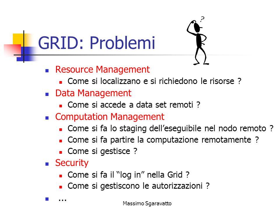 Massimo Sgaravatto GRID: Problemi Resource Management Come si localizzano e si richiedono le risorse .