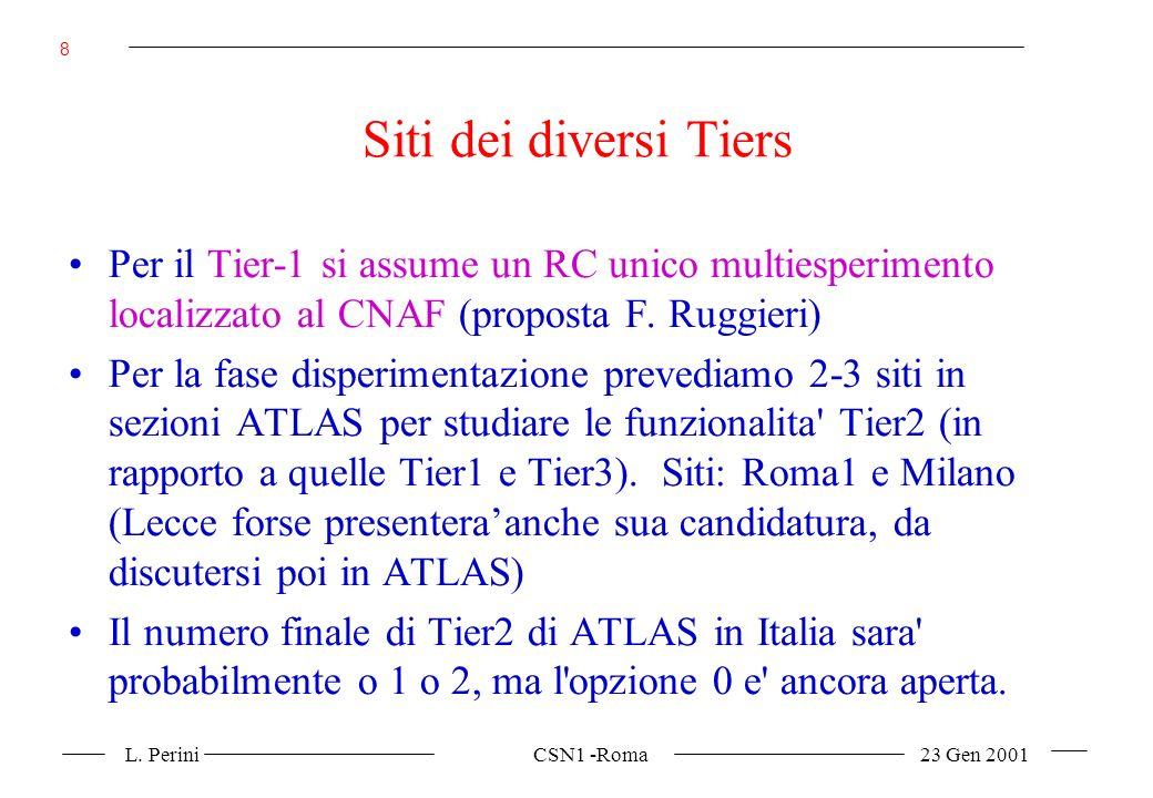 L. Perini CSN1 -Roma 23 Gen 2001 8 Siti dei diversi Tiers Per il Tier-1 si assume un RC unico multiesperimento localizzato al CNAF (proposta F. Ruggie