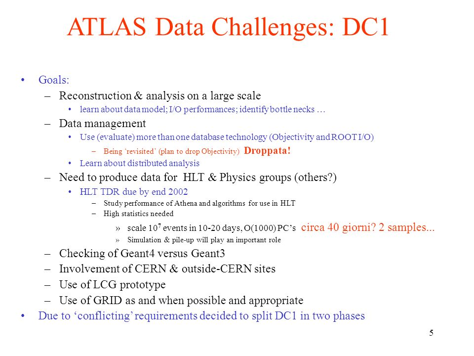 5 ATLAS Data Challenges: DC1 Goals: –Reconstruction & analysis on a large scale learn about data model; I/O performances; identify bottle necks … –Data management Use (evaluate) more than one database technology (Objectivity and ROOT I/O) –Being revisited (plan to drop Objectivity) Droppata.