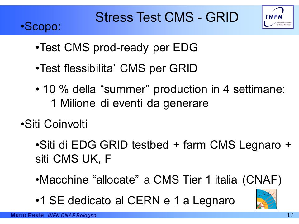 Mario Reale INFN CNAF Bologna 17 Scopo: Test CMS prod-ready per EDG Test flessibilita CMS per GRID 10 % della summer production in 4 settimane: 1 Mili