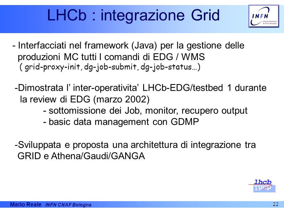 Mario Reale INFN CNAF Bologna 22 LHCb : integrazione Grid - Interfacciati nel framework (Java) per la gestione delle produzioni MC tutti I comandi di