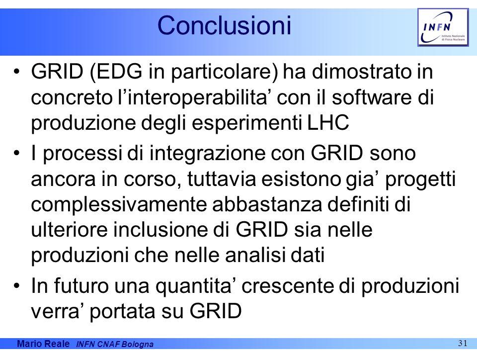 Mario Reale INFN CNAF Bologna 31 Conclusioni GRID (EDG in particolare) ha dimostrato in concreto linteroperabilita con il software di produzione degli