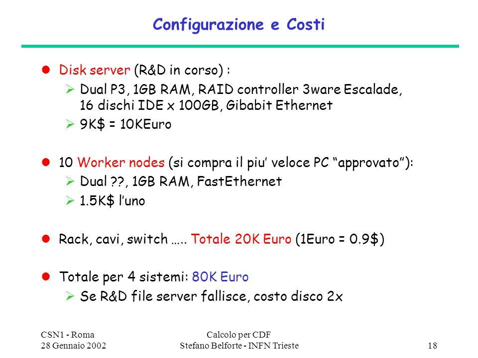 CSN1 - Roma 28 Gennaio 2002 Calcolo per CDF Stefano Belforte - INFN Trieste18 Configurazione e Costi Disk server (R&D in corso) : Dual P3, 1GB RAM, RAID controller 3ware Escalade, 16 dischi IDE x 100GB, Gibabit Ethernet 9K$ = 10KEuro 10 Worker nodes (si compra il piu veloce PC approvato): Dual ??, 1GB RAM, FastEthernet 1.5K$ luno Rack, cavi, switch …..