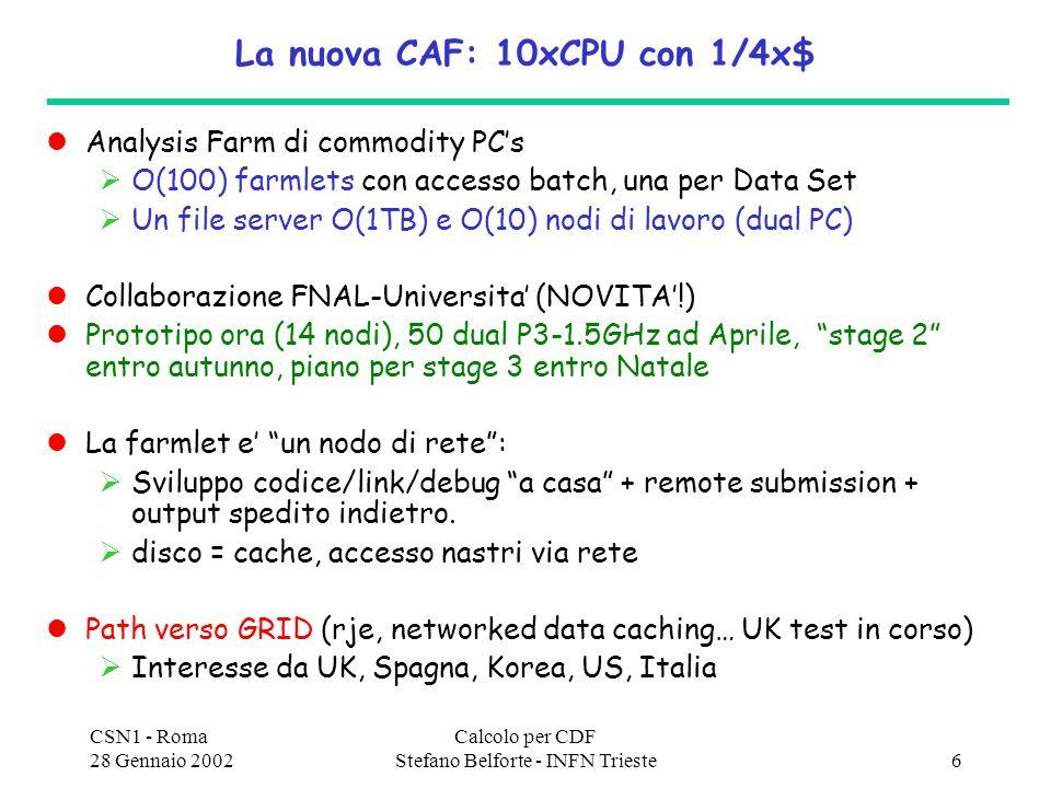 CSN1 - Roma 28 Gennaio 2002 Calcolo per CDF Stefano Belforte - INFN Trieste6 La nuova CAF: 10xCPU con 1/4x$ Analysis Farm di commodity PCs O(100) farmlets con accesso batch, una per Data Set Un file server O(1TB) e O(10) nodi di lavoro (dual PC) Collaborazione FNAL-Universita (NOVITA!) Prototipo ora (14 nodi), 50 dual P3-1.5GHz ad Aprile, stage 2 entro autunno, piano per stage 3 entro Natale La farmlet e un nodo di rete: Sviluppo codice/link/debug a casa + remote submission + output spedito indietro.