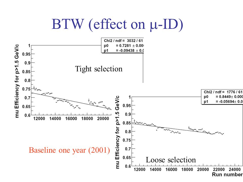 BTW (effect on -ID) Tight selection Loose selection Baseline one year (2001)