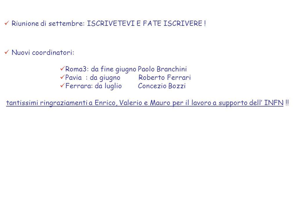 Nuovi coordinatori: Roma3: da fine giugno Paolo Branchini Pavia : da giugno Roberto Ferrari Ferrara: da luglio Concezio Bozzi tantissimi ringraziamenti a Enrico, Valerio e Mauro per il lavoro a supporto dell INFN !.