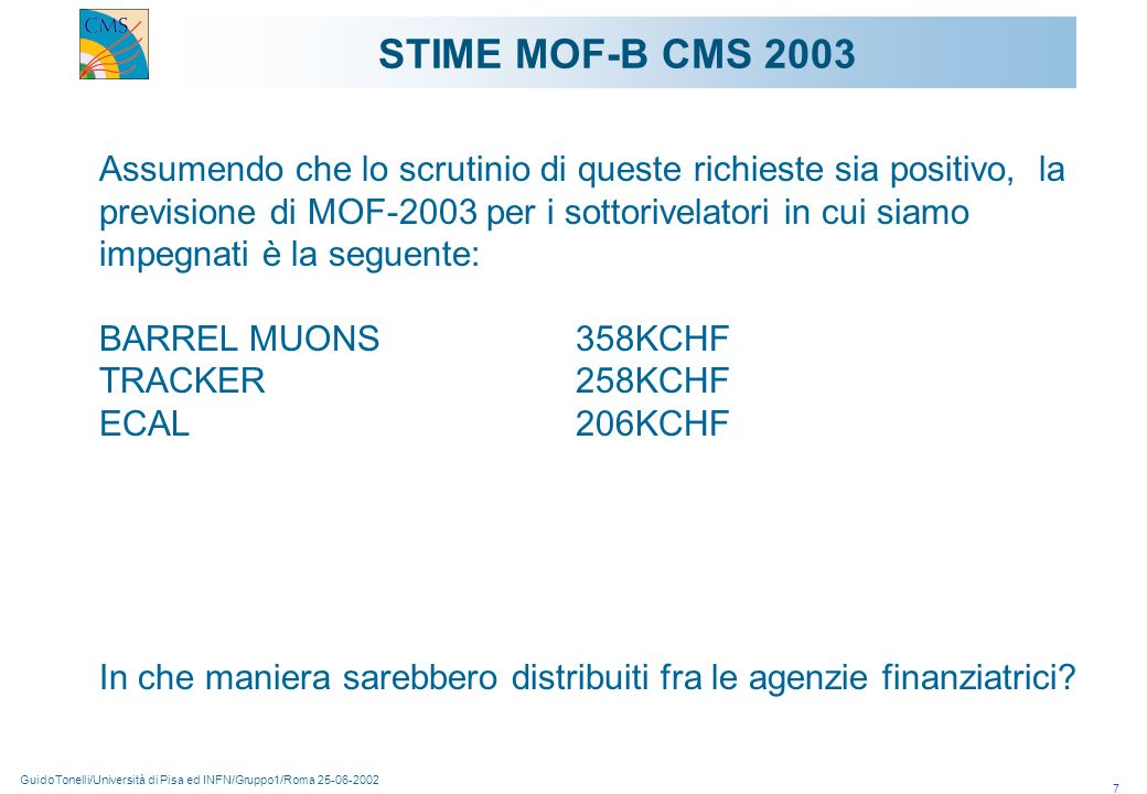 GuidoTonelli/Università di Pisa ed INFN/Gruppo1/Roma 25-06-2002 7 Assumendo che lo scrutinio di queste richieste sia positivo, la previsione di MOF-20
