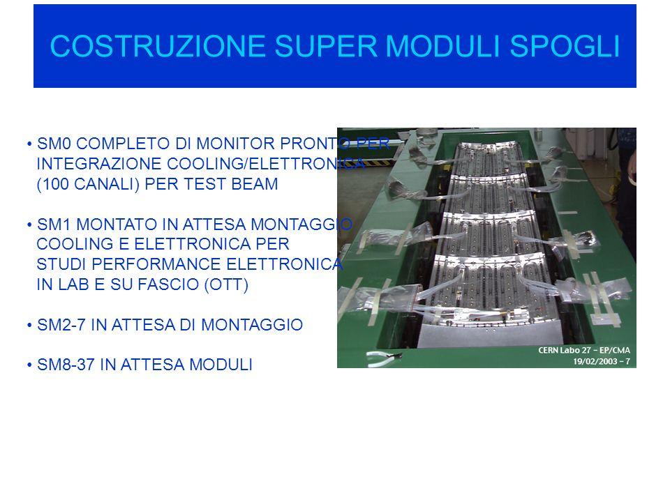COSTRUZIONE SUPER MODULI SPOGLI SM0 COMPLETO DI MONITOR PRONTO PER INTEGRAZIONE COOLING/ELETTRONICA (100 CANALI) PER TEST BEAM SM1 MONTATO IN ATTESA MONTAGGIO COOLING E ELETTRONICA PER STUDI PERFORMANCE ELETTRONICA IN LAB E SU FASCIO (OTT) SM2-7 IN ATTESA DI MONTAGGIO SM8-37 IN ATTESA MODULI