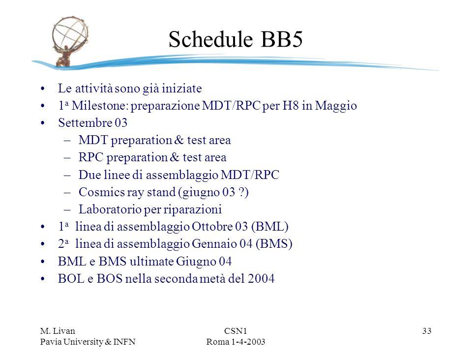 M. Livan Pavia University & INFN CSN1 Roma 1-4-2003 32 Storage/transport frame Attualmente in fase di progettazione a LNF