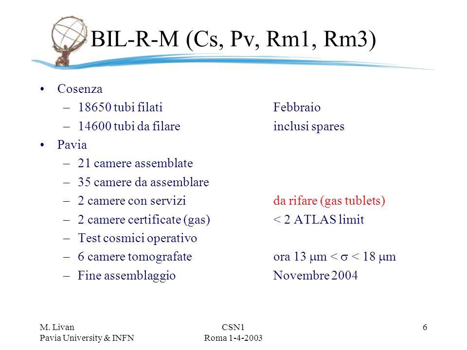 M. Livan Pavia University & INFN CSN1 Roma 1-4-2003 5 Frascati BML