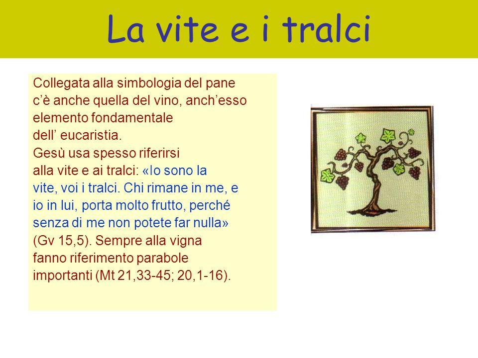 La vite e i tralci Collegata alla simbologia del pane cè anche quella del vino, anchesso elemento fondamentale dell eucaristia. Gesù usa spesso riferi