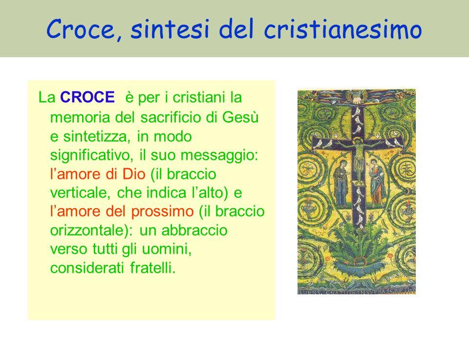 Croce, sintesi del cristianesimo La CROCE è per i cristiani la memoria del sacrificio di Gesù e sintetizza, in modo significativo, il suo messaggio: l