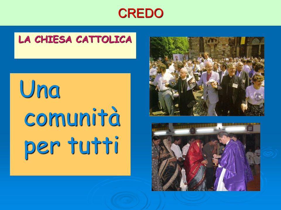 CREDO LA CHIESA CATTOLICA Una comunità per tutti Una comunità per tutti