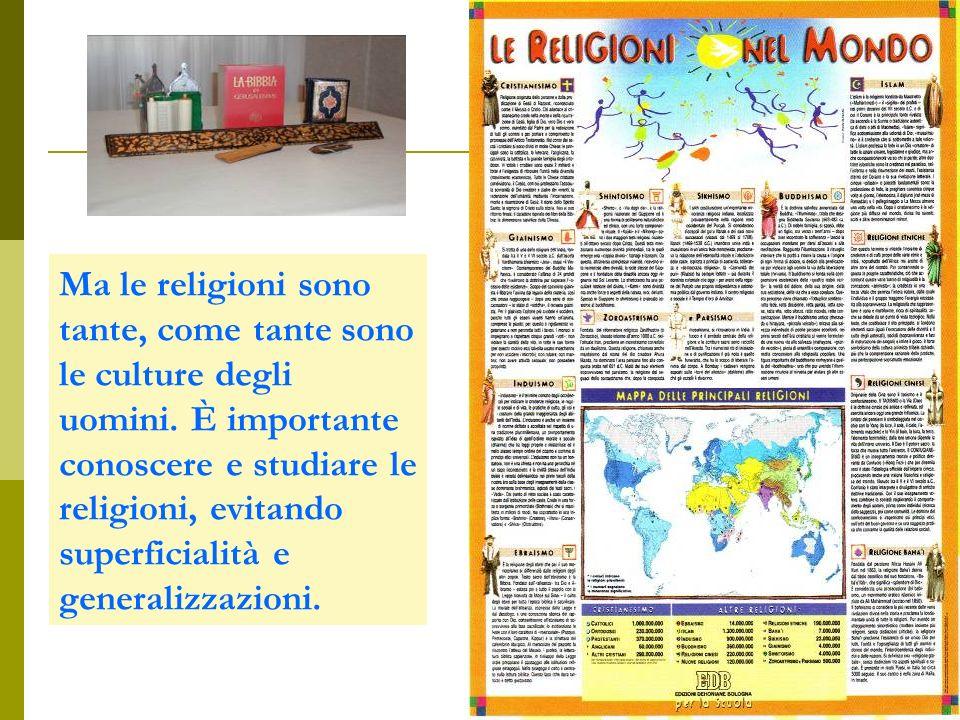 Ma le religioni sono tante, come tante sono le culture degli uomini. È importante conoscere e studiare le religioni, evitando superficialità e general