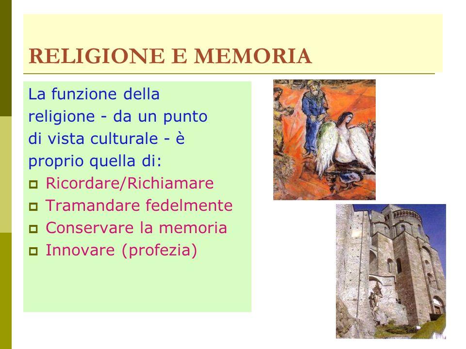 RELIGIONE E MEMORIA La funzione della religione - da un punto di vista culturale - è proprio quella di: Ricordare/Richiamare Tramandare fedelmente Conservare la memoria Innovare (profezia)