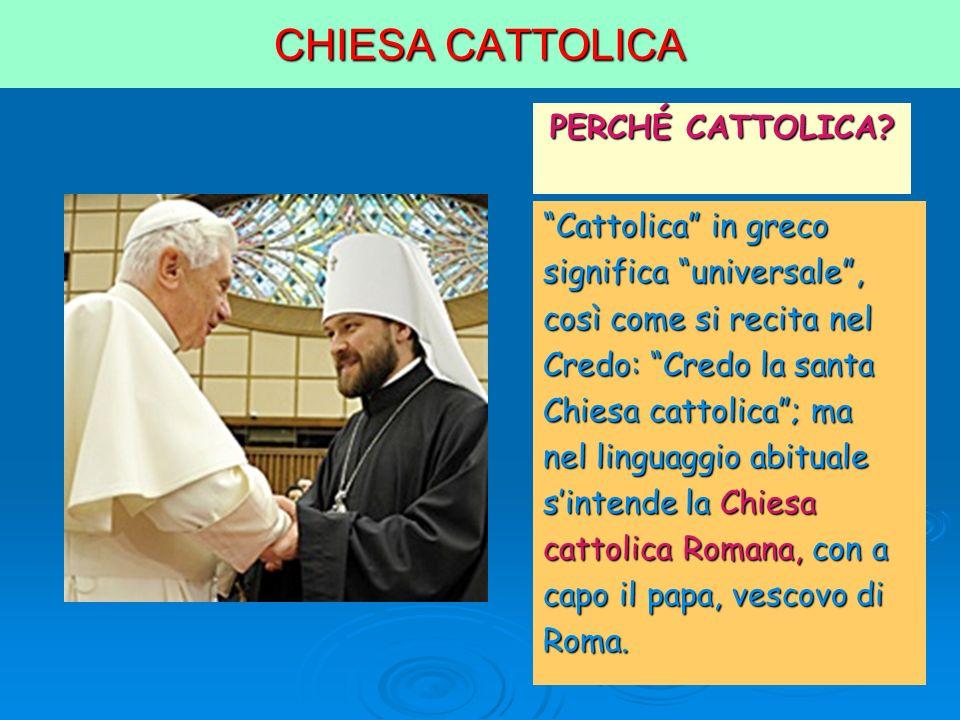 CHIESA CATTOLICA PERCHÉ CATTOLICA? Cattolica in greco significa universale, così come si recita nel Credo: Credo la santa Chiesa cattolica; ma nel lin