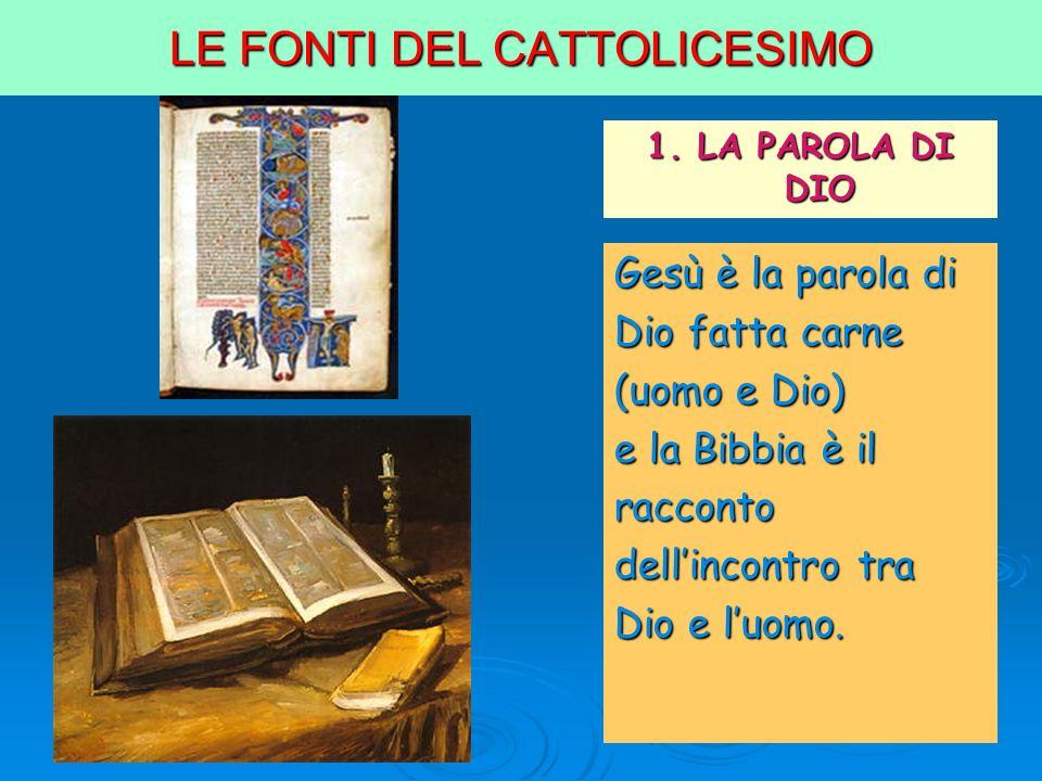 LE FONTI DEL CATTOLICESIMO 1. LA PAROLA DI DIO Gesù è la parola di Dio fatta carne (uomo e Dio) e la Bibbia è il racconto dellincontro tra Dio e luomo