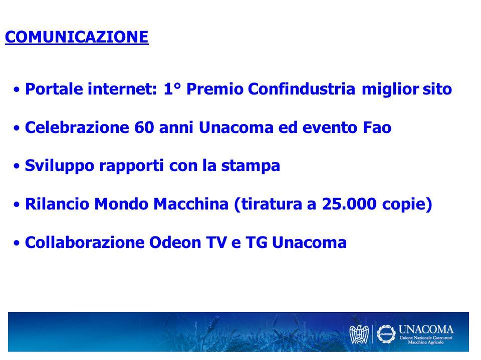 Portale internet: 1° Premio Confindustria miglior sito Celebrazione 60 anni Unacoma ed evento Fao Sviluppo rapporti con la stampa Rilancio Mondo Macch