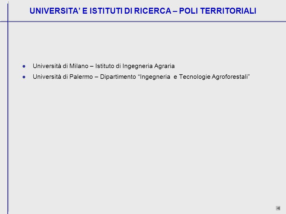UNIVERSITA E ISTITUTI DI RICERCA – POLI TERRITORIALI Università di Milano – Istituto di Ingegneria Agraria Università di Palermo – Dipartimento Ingegneria e Tecnologie Agroforestali