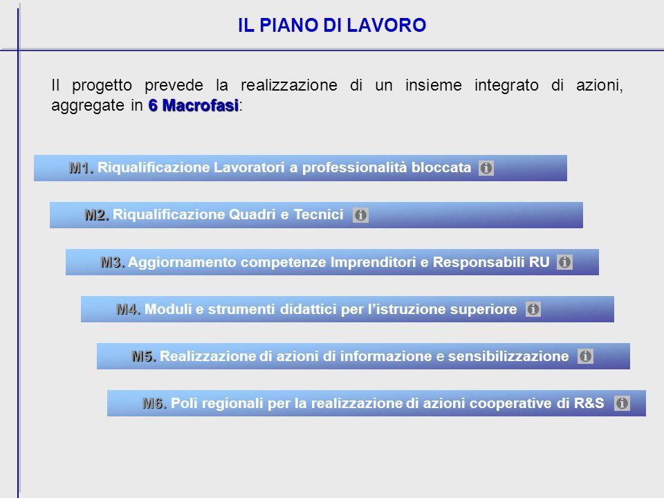IL PIANO DI LAVORO 6 Macrofasi Il progetto prevede la realizzazione di un insieme integrato di azioni, aggregate in 6 Macrofasi: M1.