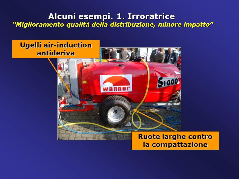 Alcuni esempi. 1. Irroratrice Miglioramento qualità della distribuzione, minore impatto Ugelli air-induction antideriva Ruote larghe contro la compatt