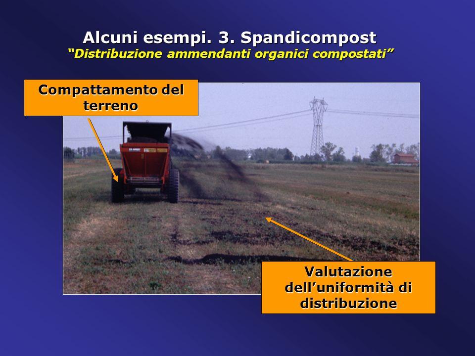 Alcuni esempi. 3. Spandicompost Distribuzione ammendanti organici compostati Compattamento del terreno Valutazione delluniformità di distribuzione