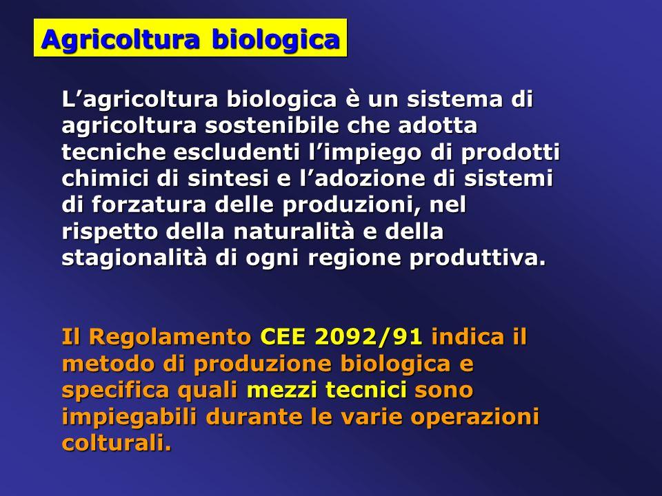 Agricoltura biologica Lagricoltura biologica è un sistema di agricoltura sostenibile che adotta tecniche escludenti limpiego di prodotti chimici di si
