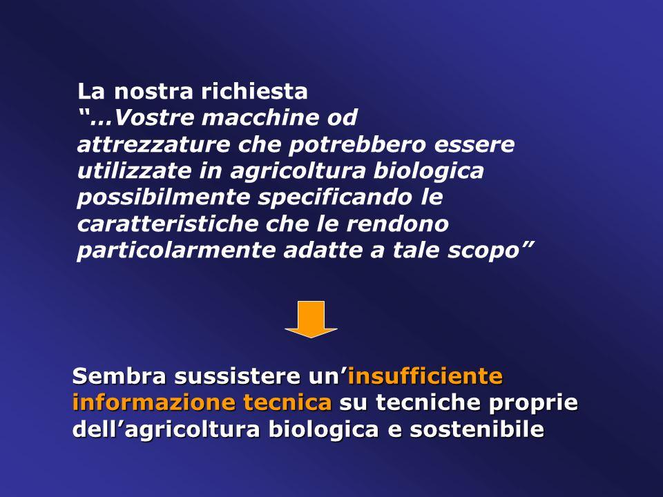 Sembra sussistere uninsufficiente informazione tecnica su tecniche proprie dellagricoltura biologica e sostenibile La nostra richiesta …Vostre macchin